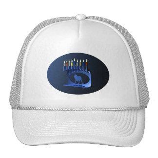 Shiny Blue Chanukkah Menorah Mesh Hat