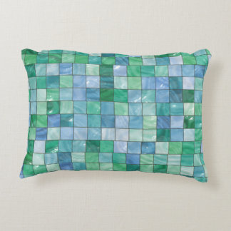 Shiny Blue Green Faux Glass Block Tile Mosaic Decorative Cushion