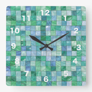 Shiny Blue Green Faux Glass Block Tile Mosaic Square Wall Clock