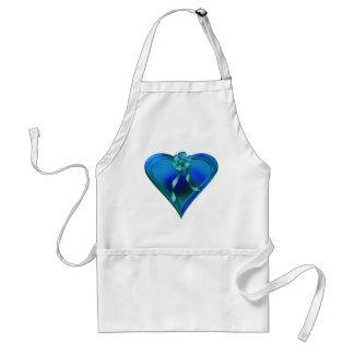 Shiny Blue Heart Adult Apron