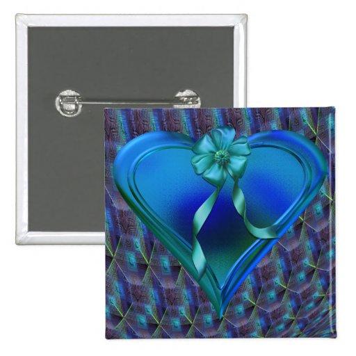 Shiny Blue Heart Pins