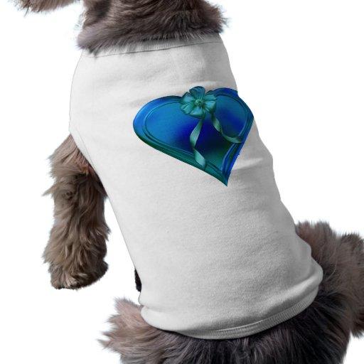 Shiny Blue Heart Pet Tee