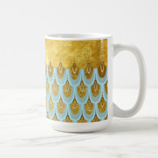 Shiny Blue Teal Glitter Mermaid Fish Scales Coffee Mug