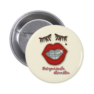 Shiny Braces Red Lips Mole and Thick Eyelashes Pinback Buttons