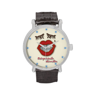 Shiny Braces, Red Lips, Mole, and Thick Eyelashes Wrist Watches