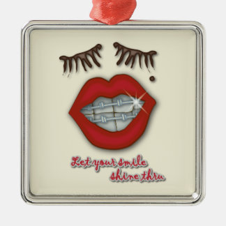 Shiny Braces, Red Lips, Mole, and Thick Eyelashes Metal Ornament