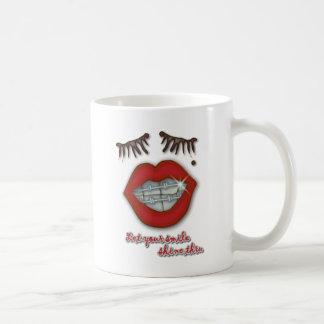 Shiny Braces Red Lips Mole and Thick Eyelashes Mug