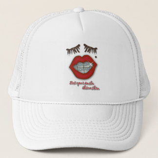 Shiny Braces, Red Lips, Mole, and Thick Eyelashes Trucker Hat
