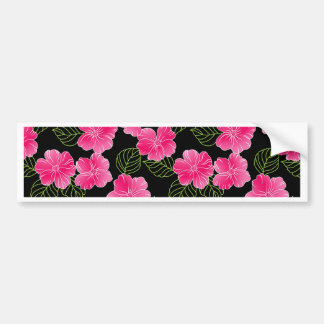 Shiny bright pink flowers,green leaves on black bumper sticker