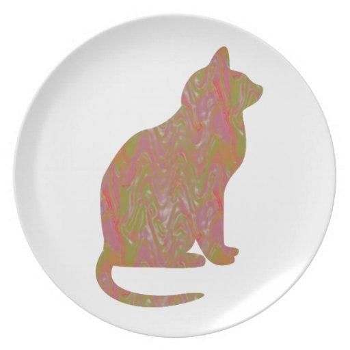 SHINY Brown CAT: KIDS Love Kitty Kittens LOWPRICE Dinner Plate