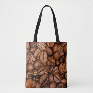 Shiny brown coffee beans tote bag