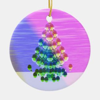 Shiny Christmas Tree Greetings Round Ceramic Decoration