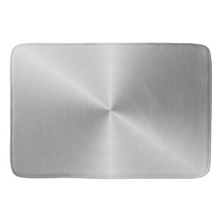 Shiny Circular Polished Metal Texture Bath Mat