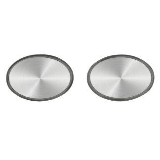 Shiny Circular Polished Metal Texture Gunmetal Finish Cufflinks