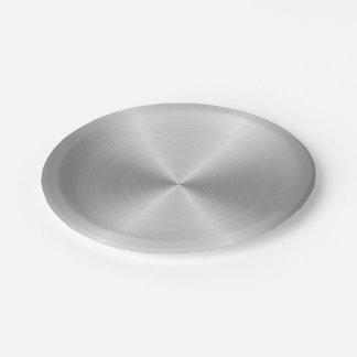 Shiny Circular Polished Metal Texture Paper Plate