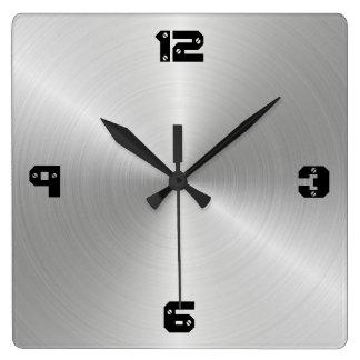 Shiny Circular Polished Metal Texture Square Wall Clock