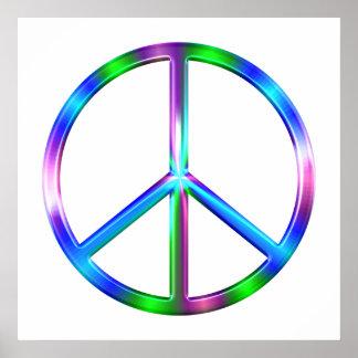 Shiny Colorful Peace Sign