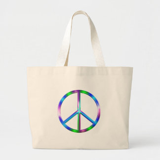 Shiny Colorful Peace Sign Large Tote Bag
