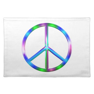 Shiny Colorful Peace Sign Placemat