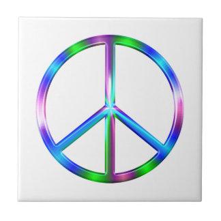 Shiny Colorful Peace Sign Tile