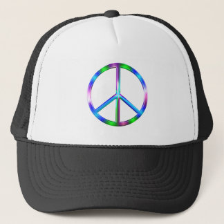 Shiny Colorful Peace Sign Trucker Hat