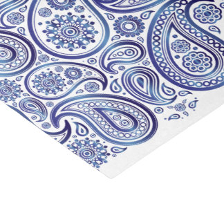 Shiny Deep Blue Paisleys on White - Tissue Paper