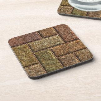 Shiny digital bricks pattern bronze and copper coaster