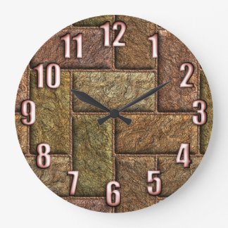 Shiny digital bricks pattern bronze and copper large clock