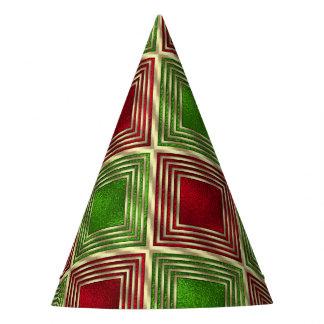 Shiny Festive Squares Party Hat