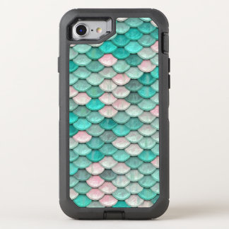 Shiny Fish Scales Effect Pattern Green Pink OtterBox Defender iPhone 8/7 Case