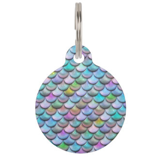 Shiny glossy pearlescent colorful mermaid scales pet name tag