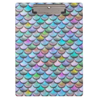 Shiny glossy pearlescent multi colored mermaid fis clipboard