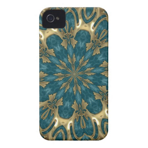 Shiny Gold and Blue abstract Blackberry case