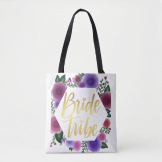 Shiny Gold Bride Tribe (floral hexagon) Tote Bag