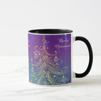 Shiny Gold Christmas tree and gold ornaments Mug