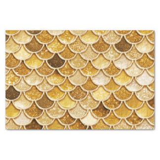 Shiny Gold Glitter Mermaid Scales Tissue Paper