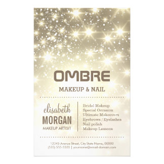 Shiny Gold Glitter Sparkles Beauty Salon 14 Cm X 21.5 Cm Flyer
