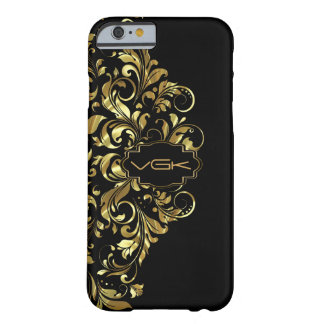 Shiny Gold Lace On Black Background Barely There iPhone 6 Case