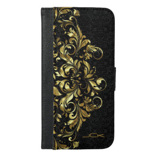 Shiny Gold Lace Over Black Background iPhone 6/6s Plus Wallet Case