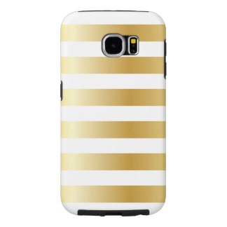 Shiny Gold Look Stripes Pattern Samsung Galaxy S6 Cases