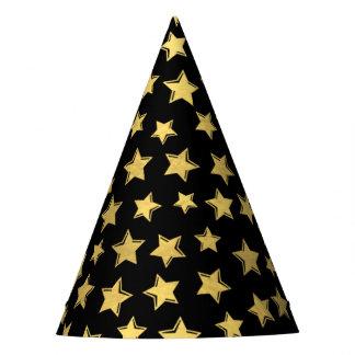 Shiny Gold Stars on Black Party Hat