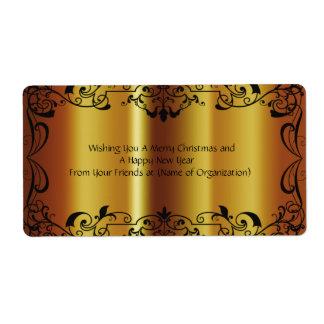 Shiny Gold Wedding, Christmas, Birthday Wine Label Shipping Label