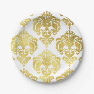 Shiny Gold & White Damask Vintage Wedding Event Paper Plate