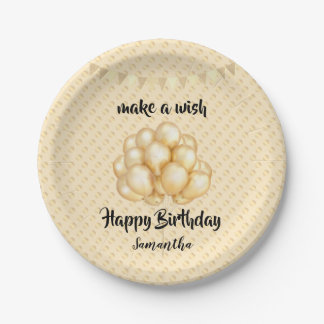 Shiny Golden Balloons & Dots, Make a Wish Birthday Paper Plate