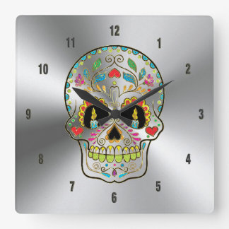 Shiny Gray Stainless Steel & Colorful Floral Skull Clock