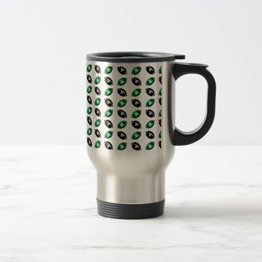 Shiny Green and Black Football Pattern Coffee Mug