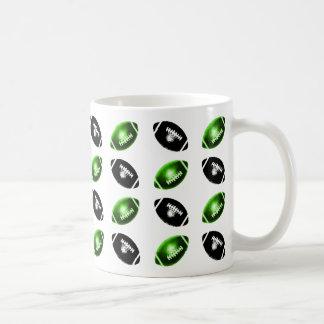 Shiny Green and Black Football Pattern Mug
