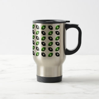 Shiny Green and Black Football Pattern Stainless Steel Travel Mug