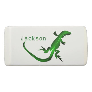 Shiny Green Lizard Personalized Eraser