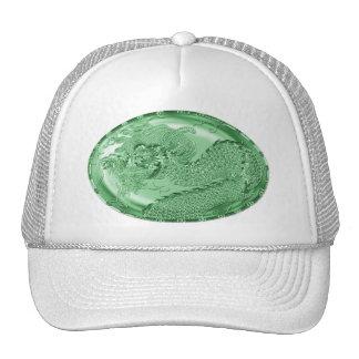 Shiny Green Metallic Dragon Medallion Hat